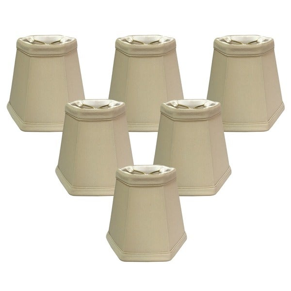 Royal Designs Beige 5-inch Hexagon Chandelier Lamp Shades (Set of 6)