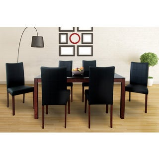 Tatiana Mid-Century 7 Piece Living Room Dining Set, Espresso