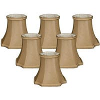 "Royal Designs 5"" Decorative Trim Bell Inverted Corner Chandelier Lamp Shades Set of 6 Antique Gold"