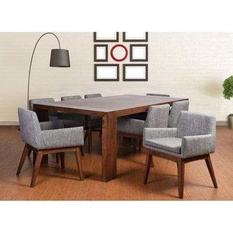 Ruby Deluxe Mid-Century 9 Piece Living Room Armchair Dining Set, Coral Textile Fabric
