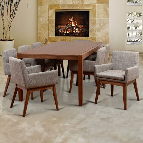 Ruby Deluxe Mid-Century 9 Piece Cocoa Living Room Armchair Dining Set, Coral Textile Fabric