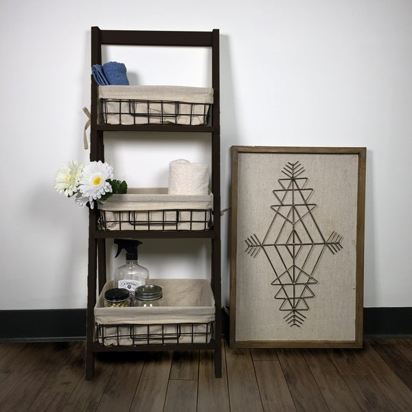 """44"""" Foldable Wood Shelf with 3 Foldable Metal Baskets and Liners"""