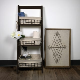 "44"" Foldable Wood Shelf with 3 Foldable Metal Baskets and Liners"