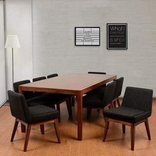 Ruby Deluxe Mid-Century 9 Piece Cocoa Living Room Dining Set, Liqurice Textile Fabric