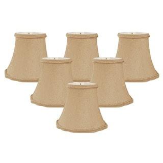 Royal Designs Antique Gold Silk 5-inch Decorative Trim Scallop Bell Chandelier Lamp Shades (Set of 6)
