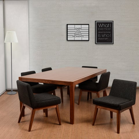 Ruby Deluxe Mid-Century 7 Piece Cocoa Living Room Dining Set, Liqurice Textile Fabric