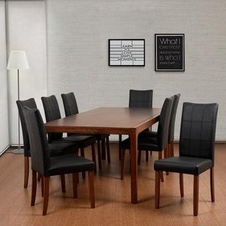 Tatiana Deluxe Mid-Century 9 Piece Cocoa Living Room Dining Set, Espresso