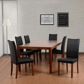 Tatiana Deluxe Mid-Century 7 Piece Cocoa Living Room Dining Set, Espresso