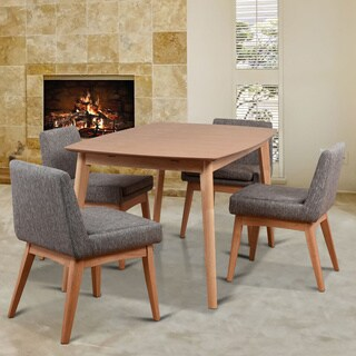 Ruby Mid-Century 5 Piece Natural Living Room Dining Set, Coral Textile Fabric - Brown/Grey