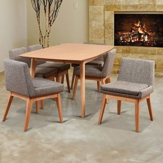Ruby Mid-Century 7 Piece Natural Living Room Dining Set, Coral Textile Fabric