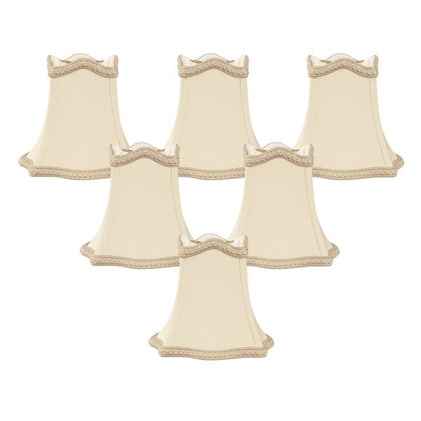 """Royal Designs Beige with Decorative Trim Hexagon Empire Chandelier Lamp Shade, 2.5"""" x 5"""" x 4.5"""", Clip On-Set of 6"""