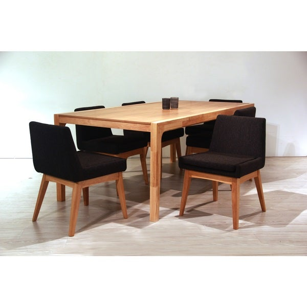 Ruby Deluxe Mid-Century 7 Piece Natural Living Room Dining Set, Liqurice Textile Fabric