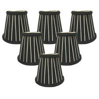 "Royal Designs Black and Eggshell English Pleated Chandelier Lamp Shade - 3"" x 5"" x 4.5"", Clip On- Set of 6"