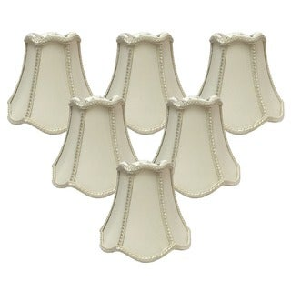 Royal Designs Decorative Trim Bell Scallop Eggshell Fabric 5-inch Chandelier Lamp Shades (Set of 6)