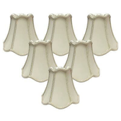 """Royal Designs Eggshell Decorative Trim Bell Scallop Chandelier Lamp Shade, 2.5"""" x 5"""" x 4.5"""", Clip On- Set of 6"""