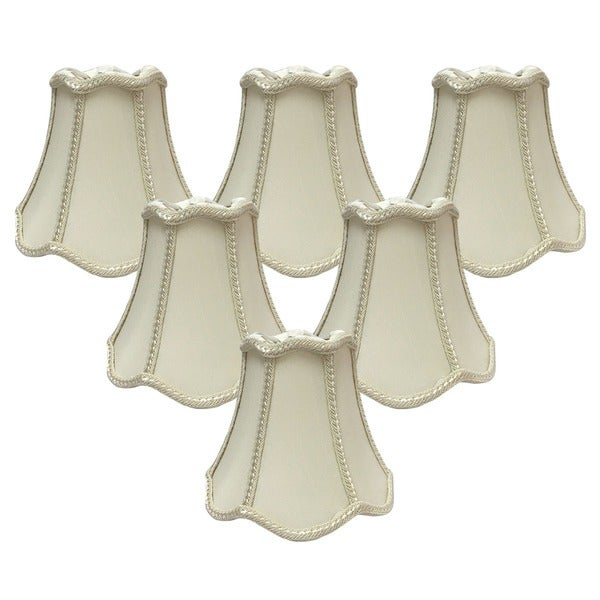 "Royal Designs Eggshell Decorative Trim Bell Scallop Chandelier Lamp Shade, 2.5"" x 5"" x 4.5"", Clip On- Set of 6"