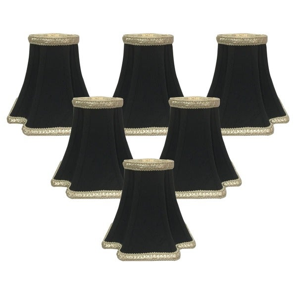 "Royal Designs Black with Gold Inverted Corners Chandelier Lamp Shade, 2.5"" x 5"" x 4.5"", Clip On- Set of 6"