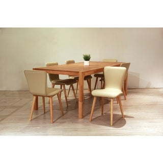 Dalia Mid-Century 7 Piece Living Room Dining Set, Cream Textile