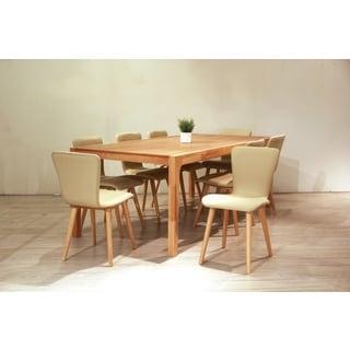 Dalia Mid-Century 9 Piece Living Room Dining Set, Cream Textile