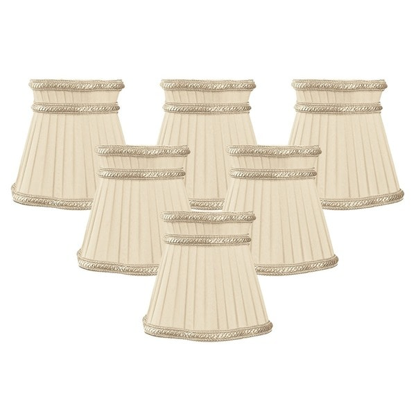 "Royal Designs Beige Pleated with Decorative Top Trim Empire Chandelier Lamp Shade, 3"" x 5"" x 4.5"", Clip On- Set of 6"
