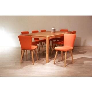 Dalia Mid-Century 9 Piece Living Room Dining Set, Orange Textile