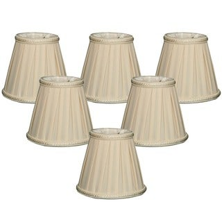 Royal Designs Eggshell Fabric 5-inch Decorative Trim Empire Chandelier Lampshades (Set of 6)