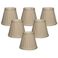 "Royal Designs Beige Decorative Trim Empire Chandelier Lamp Shade, 3"" x 5"" x 4.5"", Clip On- Set of 6"