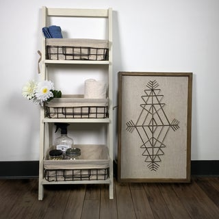 """36"""" Foldable Wood Shelf with 3 Foldable Metal Baskets and Liners"""