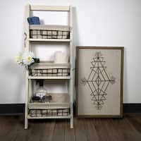 "36"" Foldable Wood Shelf with 3 Foldable Metal Baskets and Liners"