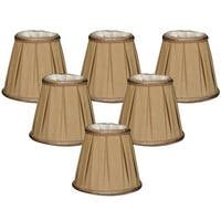 "Royal Designs Antique Gold Decorative Trim Empire Chandelier Lamp Shade, 3"" x 5"" x 4.5"", Clip On- Set of 6"