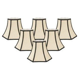 "Royal Designs Beige Decorative Trim Hexagon Chandelier Lamp Shade, 2.5"" x 5"" x 4.5"", Clip On- Set of 6"