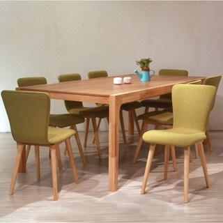 Dalia Mid-Century 9 Piece Living Room Dining Set, Green Textile