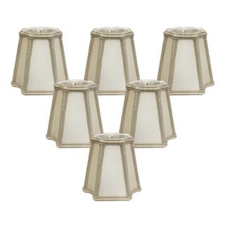 Royal Designs Empire Chandelier Beige Eggshell 4.75-inch Inverted Corners Decorative Trim Lampshades (Set of 6)