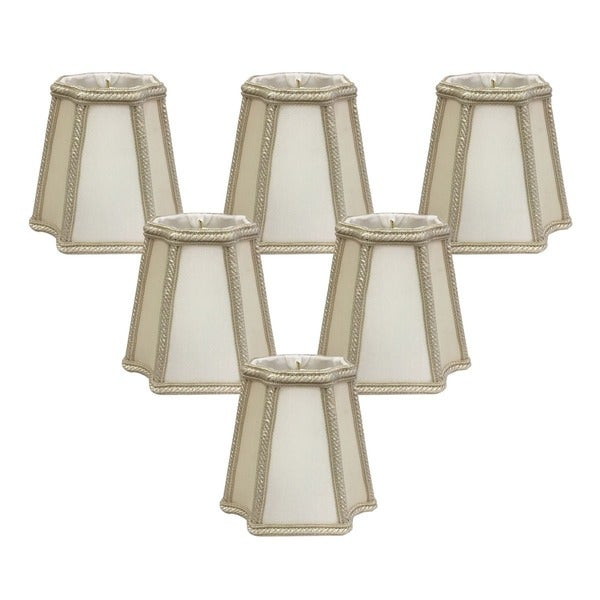 "Royal Designs Beige and Eggshell Empire Inverted Corners Chandelier Lamp Shade, 2.75"" x 4.75"" x 4.5"", Clip On- Set of 6"