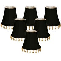 "Royal Designs Black Beaded Bell Chandelier Lamp Shade, 3"" x 5"" x 4"", Clip On- Set of 6"