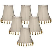 "Royal Designs Grey Beaded Bell Chandelier Lamp Shade, 3"" x 5"" x 4"", Clip On- Set of 6"