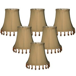 Royal Designs Antique Gold 5-inch Beaded Bell Chandelier Lamp Shades (Set of 6)