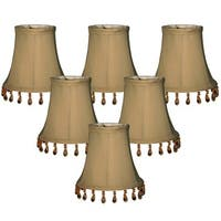 "Royal Designs Antique Gold Beaded Bell Chandelier Lamp Shade, 3"" x 5"" x 4"", Clip On- Set of 6"