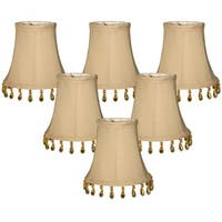 "Royal Designs Beige Beaded Bell Chandelier Lamp Shade, 3"" x 5"" x 4"", Clip On- Set of 6"