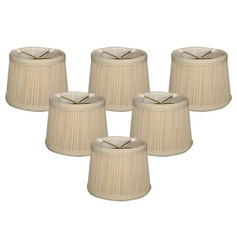 """Royal Designs Eggshell Gather Pleat Chandelier Shade, 4.5"""" x 5"""" x 4.25"""", Clip On-Set of 6"""