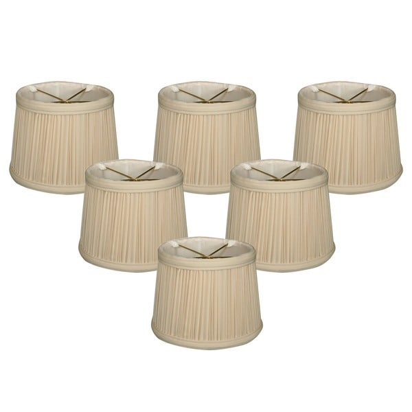 "Royal Designs Eggshell Gather Pleat Chandelier Shade, 4.5"" x 5"" x 4.25"", Clip On-Set of 6"