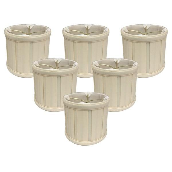 "Royal Designs Eggshell English Box Pleat Chandelier Shade, 4.5"" x 5"" x 4.25"", Clip On-Set of 6"