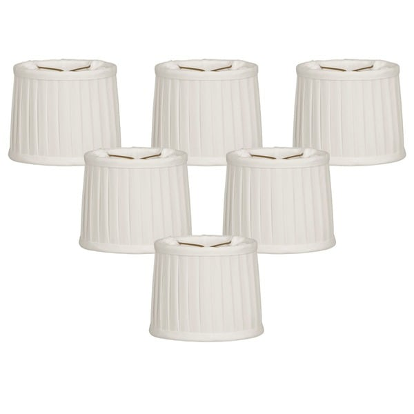 "Royal Designs White Side Pleat Chandelier Shade, 4.5"" x 5"" x 4.25"", Clip On-Set of 6"