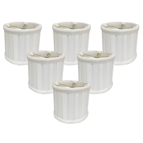 "Royal Designs White English Box Pleat Chandelier Shade, 4.5"" x 5"" x 4.25"", Clip On-Set of 6"