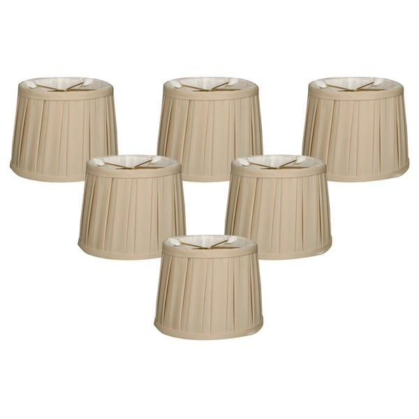 "Royal Designs Beige English Box Pleat Chandelier Shade, 4.5"" x 5"" x 4.25"", Clip On-Set of 6"
