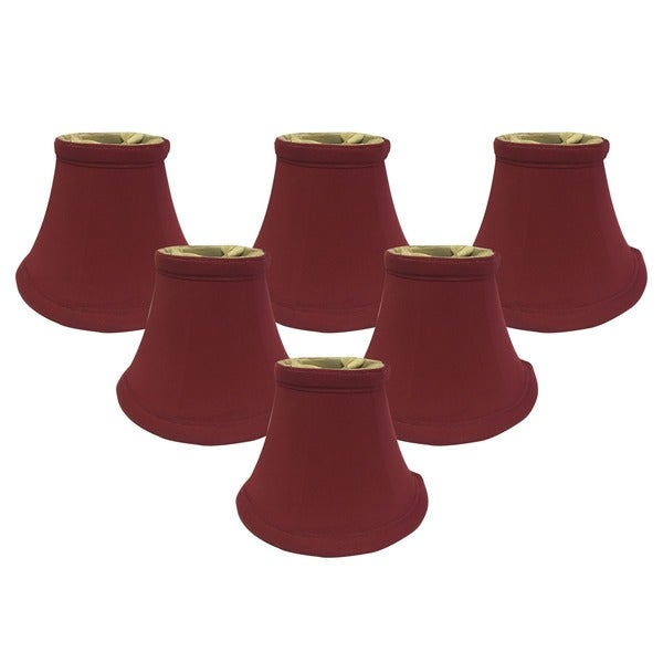 "Royal Designs Burgundy True Bell Chandelier Lamp Shade, 3"" x 6"" x 4.5"", Clip On- Set of 6"