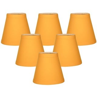 Royal Designs Yellow Silk 5-inch Hardback Empire Chandelier Lampshades (Pack of 6)
