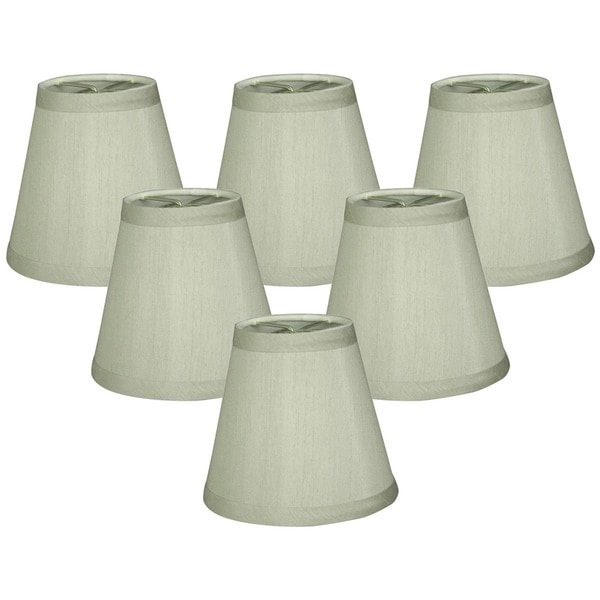 "Royal Designs Gray Hardback Empire Chandelier Lamp Shades, 4"" x 6"" x 5.5"", Clip On- Set of 6"