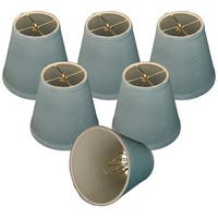"Royal Designs Blue Modified Bell Chandelier Lamp Shades, 3"" x 5"" x 4.5"", Clip On- Set of 6"