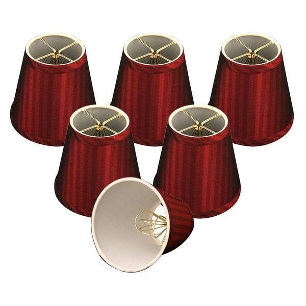 "Royal Designs Burgundy Modified Bell Chandelier Lamp Shades, 3"" x 5"" x 4.5"", Clip On- Set of 6"